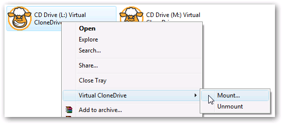 Create ISO image using virtual clone drive