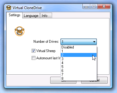 Mount ISO image using virtual clone drive
