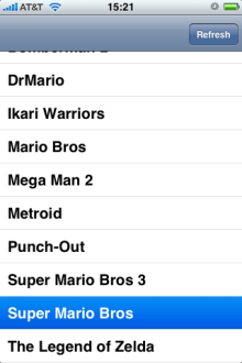 iPhone interface for List of Nintendo games