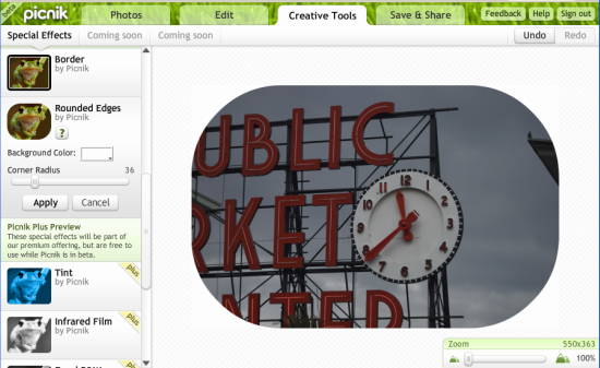 picnik - online photo editor screen