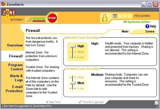 Zone Alarm Windows Firewall - Free Windows Firewall software
