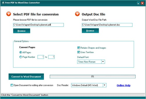 Free PDF to Word Doc Converter - Convert PDF files to Ms Word Doc files