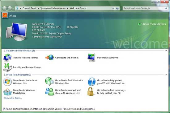 Windows 7 System information interface