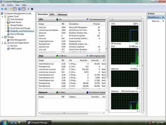 windows vista Computer management screenshot