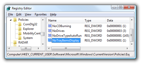 Disable System Tray Icons on Windows XP / Vista