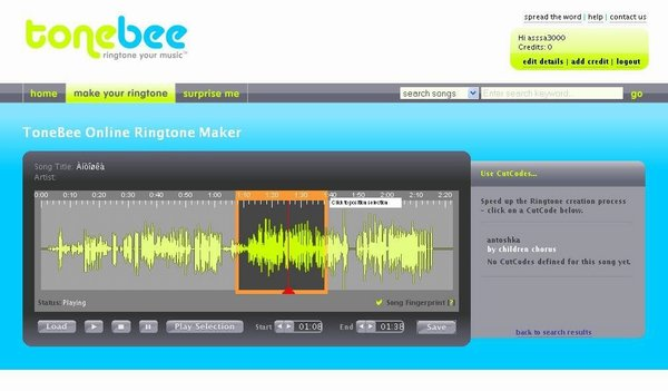 Online Ringtone maker customize mp3 music file screenshot -ToneBee