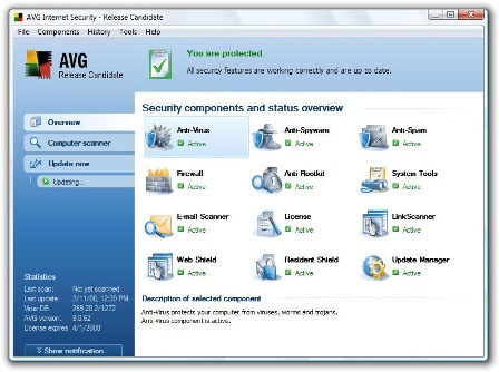 AVG Anti Virus 8.0 With Web Content scanner, AVG Anti-Spyware, AVG Anti-Rootkit, and LinkScanner