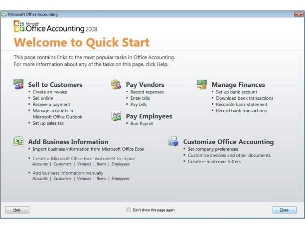 Microsoft Accounting Express 2008 - Wizard Page