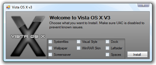 Vista OS X - select features to install mac os x leopard visual style on vista