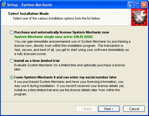 enter system mechanic 6 license key
