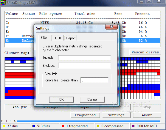 UltraDefrag - Defragment filter files features