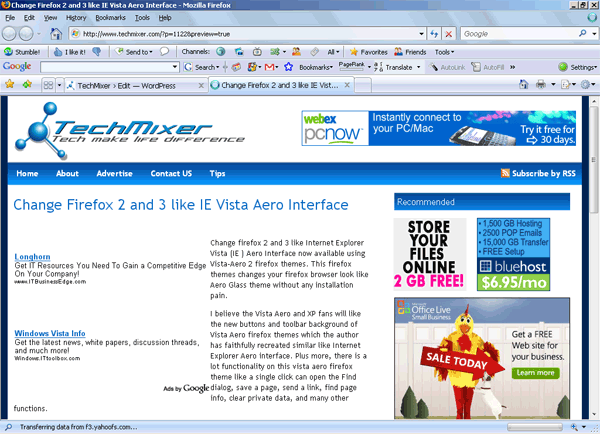 Vista Aero firefox themes -