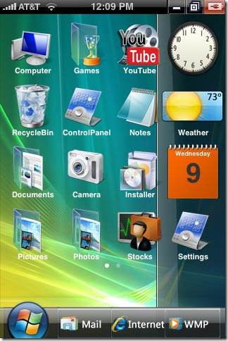 Change iphone dock like vista sidebar with Vista Perfection iphone theme