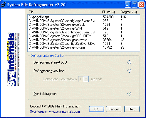 PageDefrag - Free Windows System Files Defragmenter tools