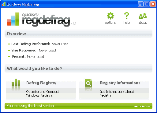 QuickSys Defrag - free Windows Registry defrag tool