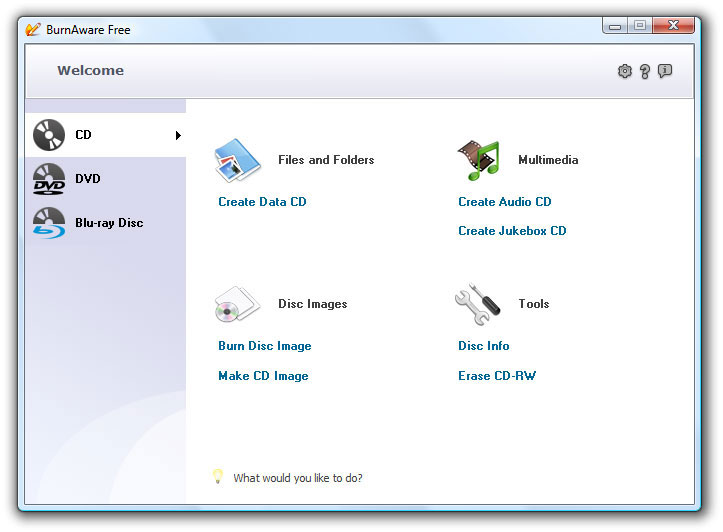 BurnAware free - free disk burning software