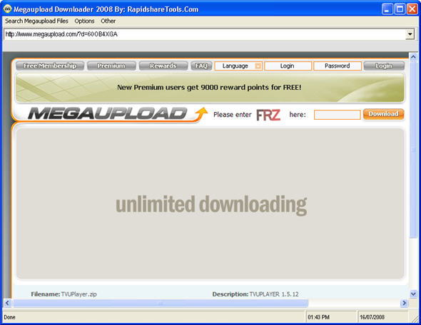 ByPass MEGAUPLOAD Country Slot Limit with MEGAUPLOAD Downloader