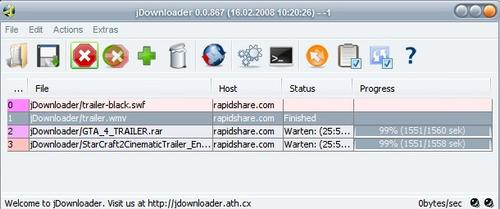 Java Rapidshare Download Manager - JDownloader