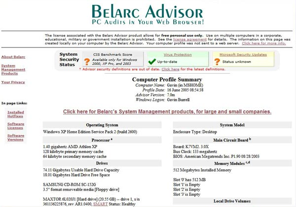 Belarc Advisor Free Personal PC Audit Software