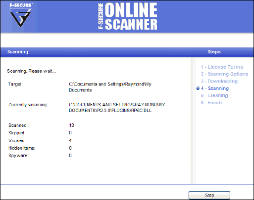 F Secure Online Virus Scanner