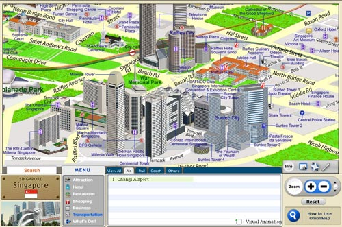 Onion Map - Online 3D tourist guide map Singapore