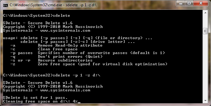 SDelete securely deletes files conforming to DOD 52222-M sanitizing standard