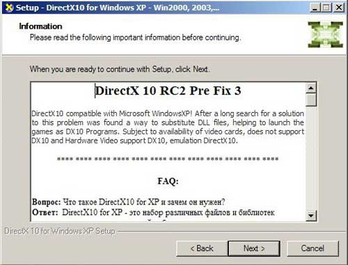 DirectX 10 XP EXE installer info