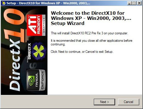 DirectX 10 XP installer page