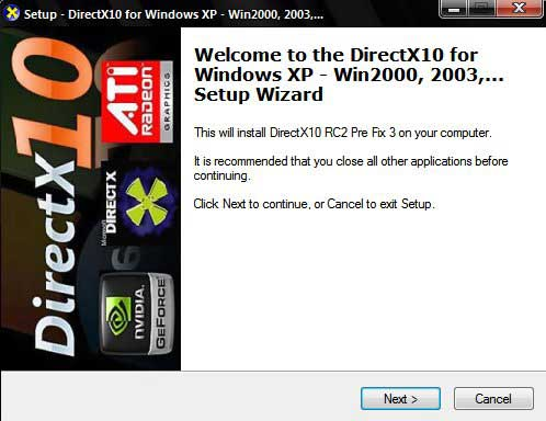 Download DirectX10 XP Installer