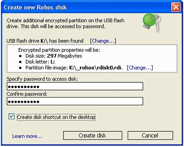 Rohos Mini drive - portable virtual encryption partition software