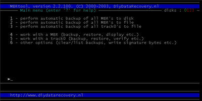 mbrtool-dos mbr backup restore