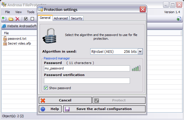 androsa fileprotector - free windows encryption software