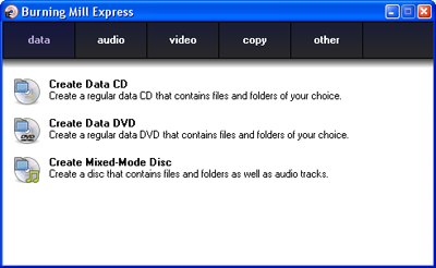 Burning Mill Express - Free CD DVD Burning Software