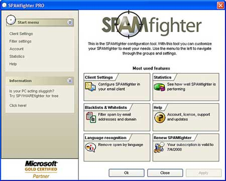 spamfighter - free outlook spam filter