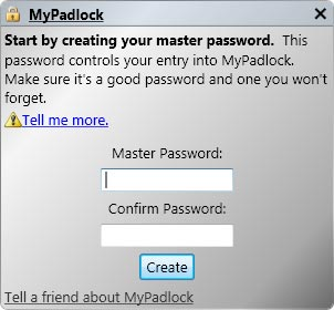 mypadlock - free simple password manager