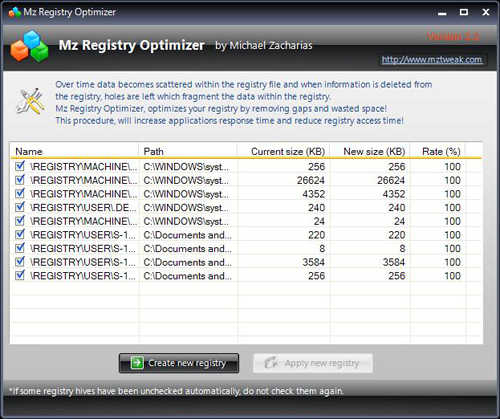mz registry optimize
