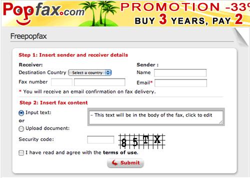 PopFax - Free Online Fax