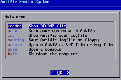 avira rescue CD scan option