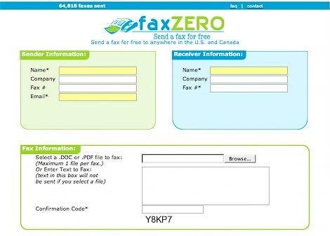 faxzero - free USA Canada online fax service