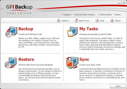 gfi backup - free Windows data backup