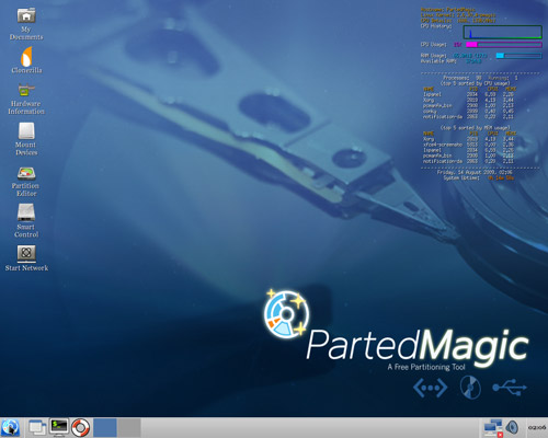 parted magic - hard disk rescue cd