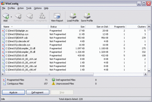 wincontig - free windows defrag tools
