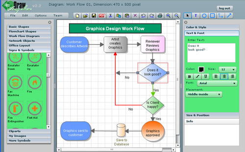 draw anywhere online diagramming tool - Design Flow Chart Online