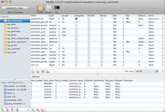 sequelpro - free mac mysql management tool
