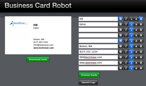 business card robot