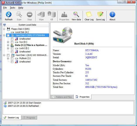 active kill disk erase