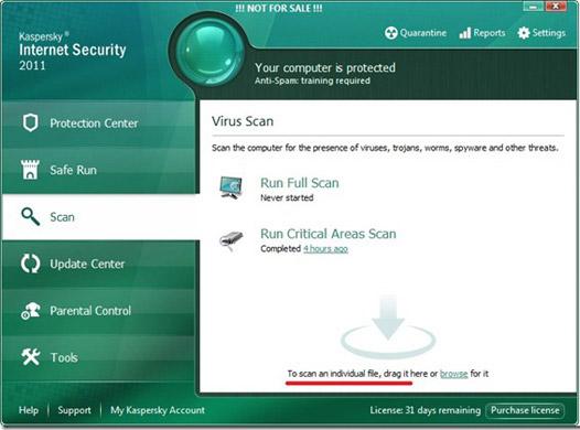Kaspersky Internet Security 2011 trial Reset