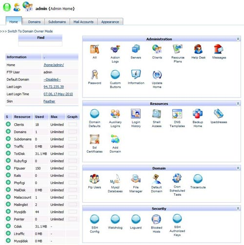 Kloxo - Free Linux Web Hosting Control Panel