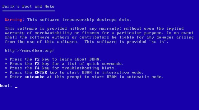 DBAN - Bootable Wipe Hard Disk CD