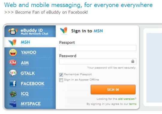 ebuddy - web based instant messenger